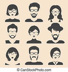 Vector set of different male and female icons in trendy flat style. People faces and heads images collection.
