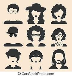Vector set of different male and female icons in trendy flat style. People faces or heads.