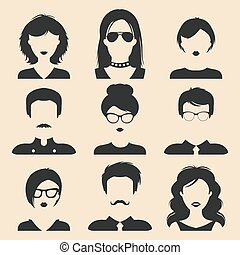 Vector set of different male and female icons in trendy flat style. People faces or heads images.