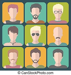 Vector set of different man app icons in flat style.