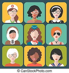 Vector set of different nationality woman icons in trendy flat style.