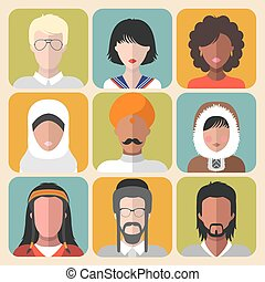 Vector set of different nationality man and woman icons in trendy flat style.