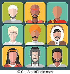 Vector set of different nationality man icons in trendy flat style.