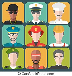 Vector set of different professions man icons in trendy flat style.