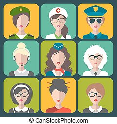 Vector set of different professions woman app icons in trendy flat style.