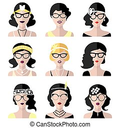 Vector set of different retro flapper girls in different shapes vintage glasses in trendy flat style.