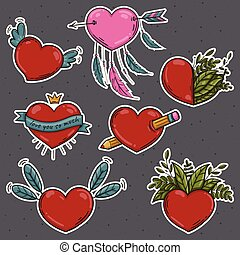 Vector set of different stickers Valentines hearts