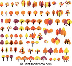 vector set of different style trees