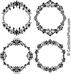 Vector Set of Different Styles Frame Silhouettes. Floral...