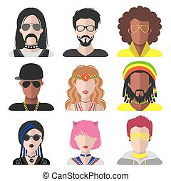Vector set of different subcultures man and woman app icons in flat style. Goth, raper, hippy, hipster etc. web images.