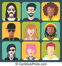 Vector set of different subcultures man and woman app icons in trendy flat style. Goth, raper, hippy, hipster,raver etc.