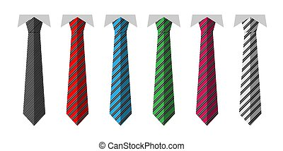 Vector set of different ties in flat style