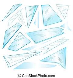 Vector set of different transparent glass