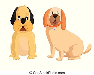 Vector set of different two dog breeds, Dog illustration in flat style
