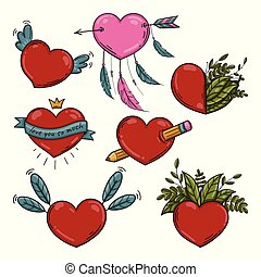 Vector set of different Valentines hearts