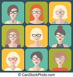 Vector set of different women app icons in glasses in flat style.