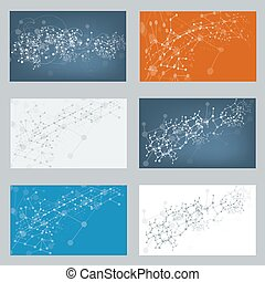 Vector Set of digital backgrounds for dna molecule structure.
