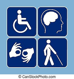 Vector set of disability symbols - Vector set of individual...