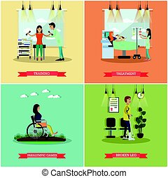 Vector set of disabled people posters in flat style - Vector...