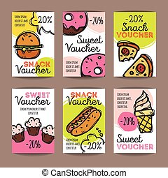 Vector Set Of Discount Coupons For Fast Food And Desserts. Colorful Doodle  Style Voucher Templates
