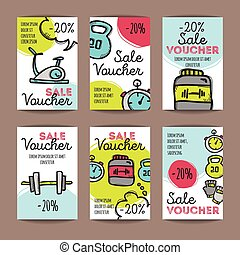 Vector set of discount coupons for sport accessories. Colorful doodle style voucher templates. Gym and fitness equipment promo offer cards.
