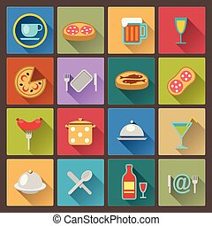 set of dish and food icons in flat
