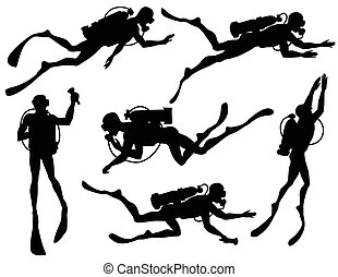 Vector set of diver Silhouettes