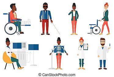 Vector set of doctor characters and patients. - Injured man ...
