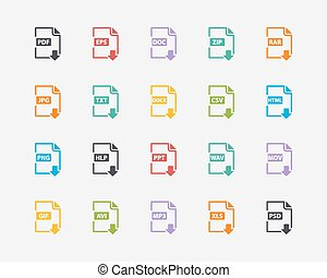 Vector set of Document File Formats and Labels color icons in flat stile