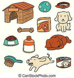vector set of dog accessories