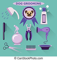 Vector set of  dog grooming tools. Flat style. Dog care.