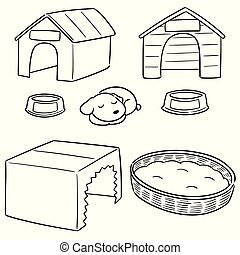 vector set of dog house