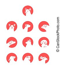 Vector set of dog icons in cartoon style