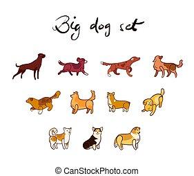 Vector set of dog in cartoon style