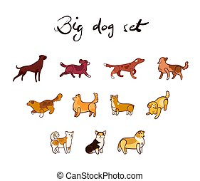 Vector set of dog in cartoon style