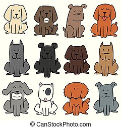 vector set of dog