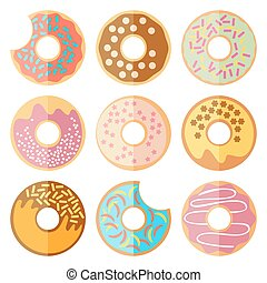 Vector set of donut isolated on a white background
