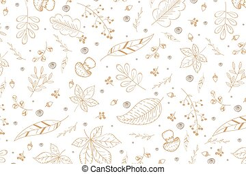 Vector set of doodle autumn background