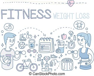 Vector set of doodle icons related to fitness theme and active lifestyle. Weight loss. People, sports equipment and outfit, healthy food, calendar, trophy