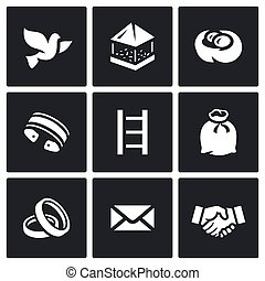 Vector Set of Dovecote Icons - The content of the birds in ...