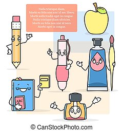 Vector set of drawing and painting items. Pen, pencil, paints, brush in cartoon style. Back to school concept design elements