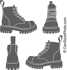 Vector set of drawings with boots. Isolated objects on a...