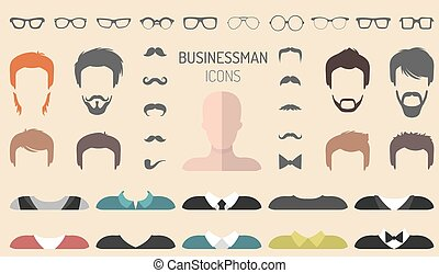 Vector set of dress up constructor with different...