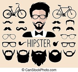 Vector set of dress up constructor with different men hipster haircuts,glasses etc.in flat style.Male faces icon creator