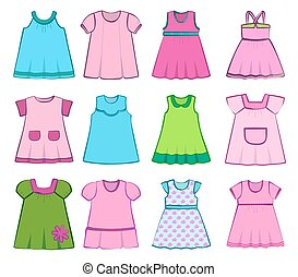 Set of children's dresses on white background. Vector illustration.