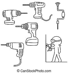 vector set of drill