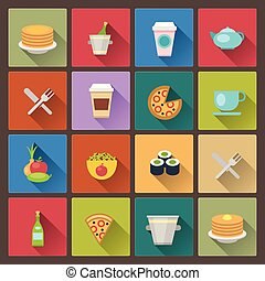 set of drink and food icons in flat