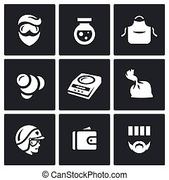 Vector Set of Drug Dealer Labs Icons. Laboratory,...