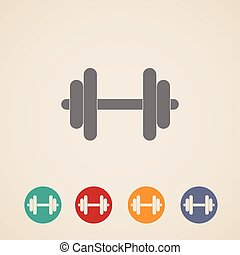 vector set of dumbbell icons