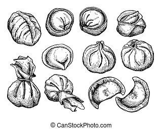 Vector set of dumplings. Vintage sketch illustration